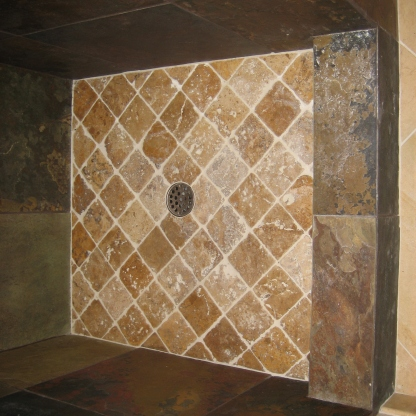DarkShower pan with Noce Travertine from Turkey