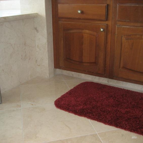 Master Bath floor with Crema Nova Marble