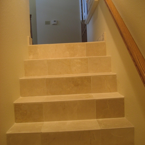 Crema Marfil Tile Stairs